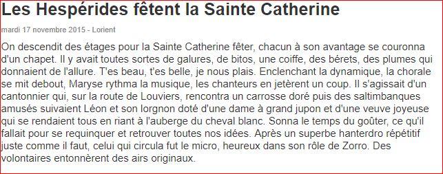 Hespérides fêtent la Sainte Catherine